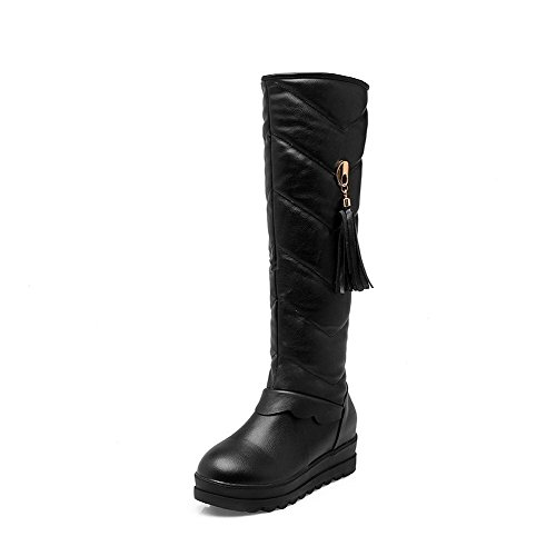 Stivale Alto Nero Con Tacco Alto Morbido Materiale High-top Da Donna Allhqfashion