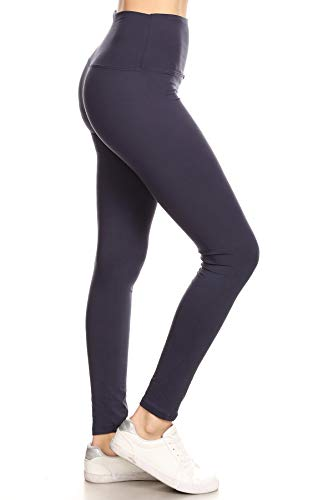 """LY5R128-NAVY 5"""" Waistband Yoga Solid Leggings, One Size"""