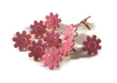 Bright Pink Flower Brads - 10pc by Eyelet Queen ()