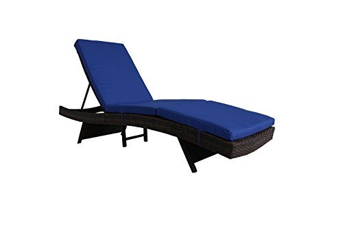Jetime Outdoor Brown Rattan Lounge Chair Woven Wicker Portable Chaise Couch Furniture Ajustable Sunbed Garden Couch Cushion with Royal Blue Cushion