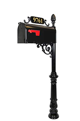 (Addresses of Distinction Charleston Large Mailbox & Post System - Black Rust Resistant Mailbox - Includes Address Plaque, Scroll & Mounting Hardware - Metal Mailbox with Pineapple Finial)