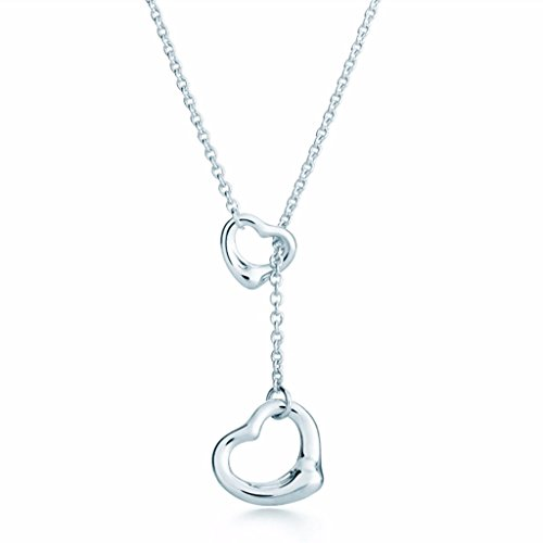 Open Heart Lariat Necklace - TTBRAND Elsa Peretti Double Open Heart Lariat Necklace