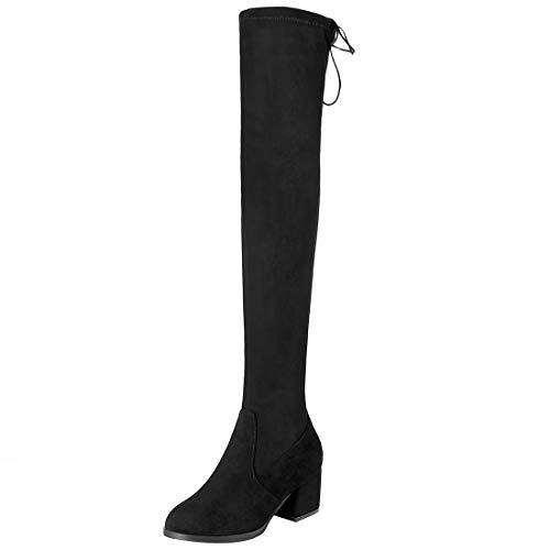 Knee mid Heel cm The 6 Womens Black Boots Suede Jushee Over on Juilleg Pull qFwaH8agI
