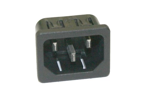Interpower 8301311 IEC 60320 C14 Snap in Power Inlet with Solder Tabs 1.5mm Panel Thickness, IEC 60320 C14 Socket Type, Black, 10A/15A Rating, 250VAC Rating