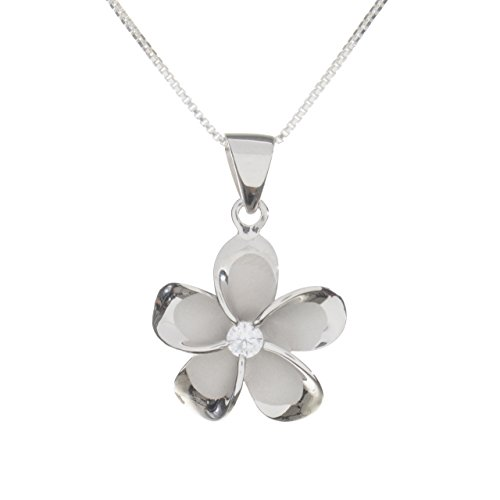 (Sterling Silver 20mm Plumeria Rhodium Plated Pendant Necklace (sterling-silver) )