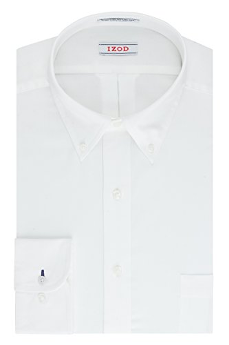 Mens Solid White Dress (IZOD Men's Twill Regular Fit Solid Button Down Collar Dress Shirt, White, 17.5