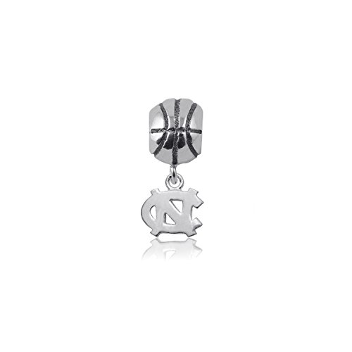 University of North Carolina Tar Heels UNC Sterling Silver Jewelry by Dayna Designs (Basketball Charm Bead) (Bracelet Basketballs Silver Sterling)