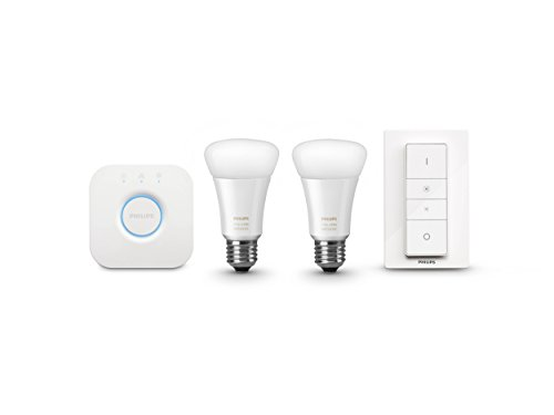 Philips 461012 Hue White Ambiance Starter Kit (2 A19 Bulbs, 1 Bridge, and 1 Dimmer Switch), Works with Amazon Alexa