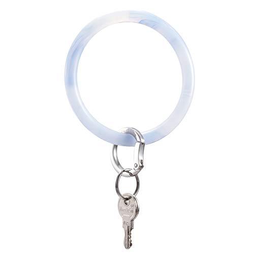 (Townshine Silicone Bangle Key Ring Wrist Keychain Round Key Rings (Marbling Blue))