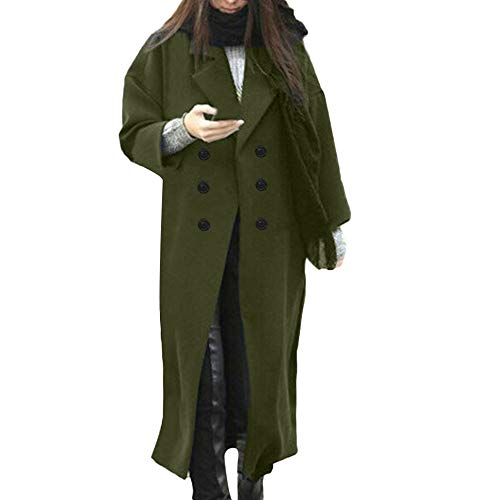 Womens Winter Lapel Wool Coat Button Trench Jacket Loose Plus Overcoat -