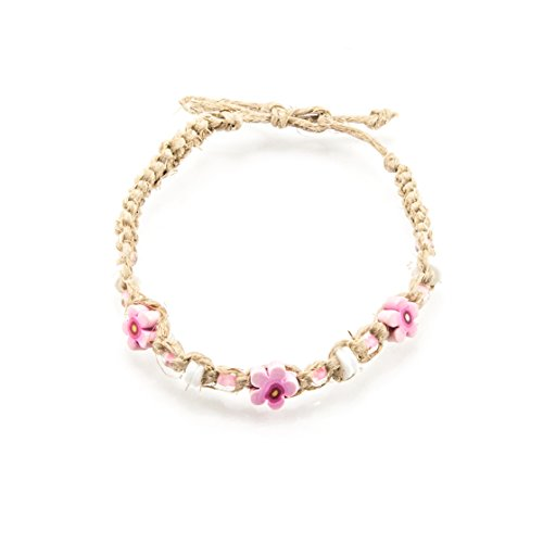 - BlueRica Hemp Anklet Bracelet with Puka Shells, Glass Beads and Pink Fimo Flowers