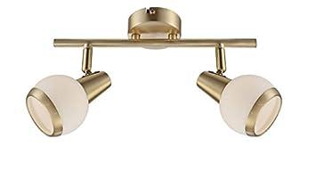 LED Deckenstrahler 2 Flammig Spots Beweglich Deckenspot Messing Matt Deckenlampe Deckenleuchte Deckenbeleuchtung