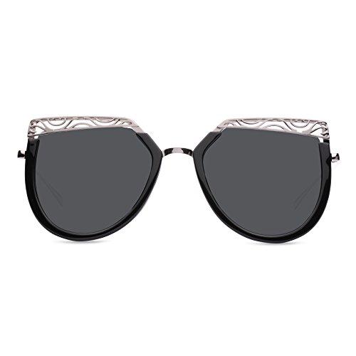 hibote Femme Mode Vintage M¨¦tal Miroir Lunettes de soleil Unique Flat Lunettes de soleil UV400 C6 cqqQu