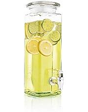 Mary's KITCHEN TOOLS drankdispenser 4 liter van glas met fruitinzet | met tapkraan | waterdispenser | limonade dispenser | sapdispenser | Bowle | Dispenser | inmaakglas ontwerp (4 liter)