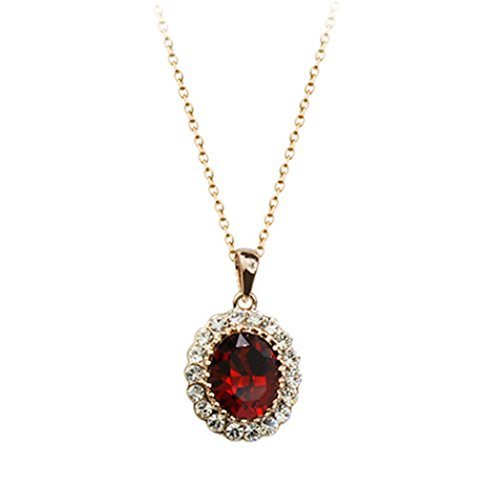 Rubies Religious Costume - Oval Shaped Swarovski Elements Crystal Pendant Necklace Fashion Jewelry for Women (Ruby Red)
