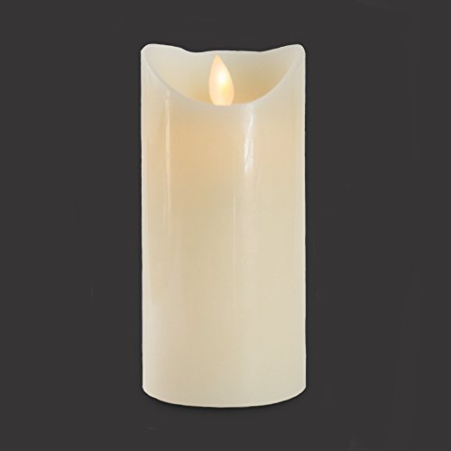 (Gideon 7 Inch Flameless LED Candle - Real Wax & Real Flickering Candle Motion - with Remote On/Off - Vanilla Scented, Ivory)