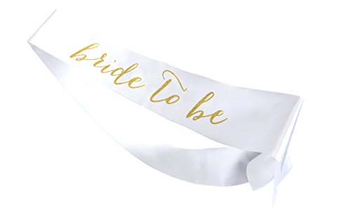 Bride to Be Sash (White and Gold) Bachelorette Party Favors | Classy Decorations for Engagement, Shower, Wedding Supplies | Decorative Women's Belt | Memory Keepsake
