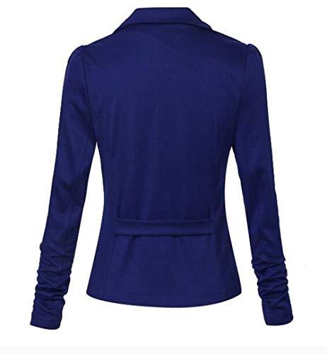 Modernas Outwear Mujer Azul Exteriores Fit Manga Blazer Chic Estilo Prendas Slim Moda Mujeres Color Sólido Otoño Largo Las Oficina Ropa Cazadoras Solapa Elegantes Primavera De Negocios SBrq4HS