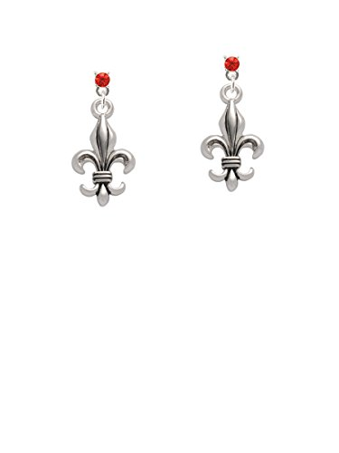 Large Antiqued Fleur di Lis Red Crystal Post (Large Crystal Fleur De Lis)