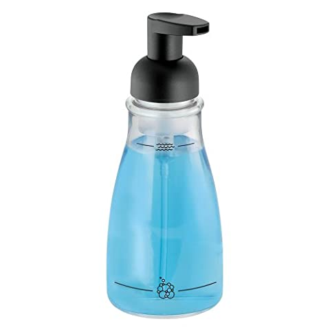 InterDesign - Foaming Soap Dispenser for Bathroom or Kitchen - Clear/Matte Black - 3 x 7.5 inches, 14 (Bathroom Shower Soap Dispenser)