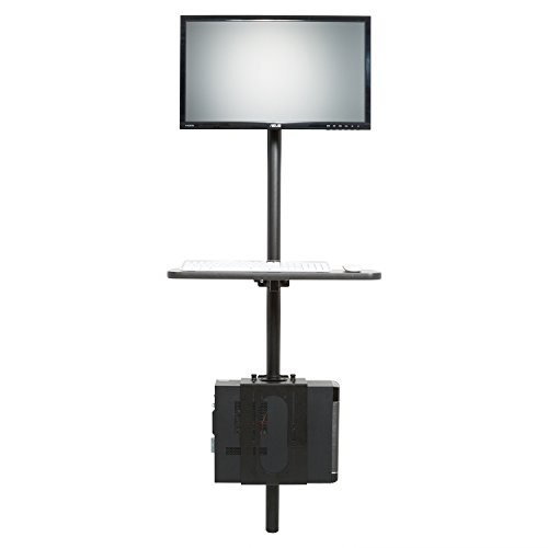 (Versa Tables Black Adjustable Flat Wall Mounted Computer Workstation with Universal Monitor Mount and Keyboard)