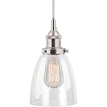 Linea di Liara Fiorentino Brushed Nickel One-Light Industrial Factory Pendant Lamp with Clear Glass Shade LL-P281-BN