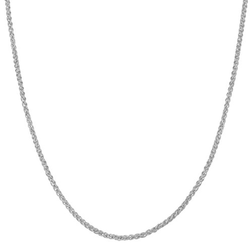 Kooljewelry Solid 14k White Gold 1 mm Round Wheat Chain Necklace (18 inch) (Wheat Design Gold)