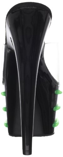 Pleaser Women's Adore-701T/C/B-LG Platform Sandal Clear/Black/Lime Green qNk0P