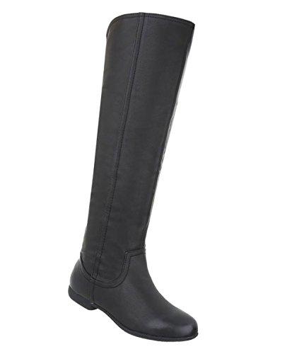 Schuhcity24 Damen Schuhe Overknee Stiefel Blockabsatz Schwarz