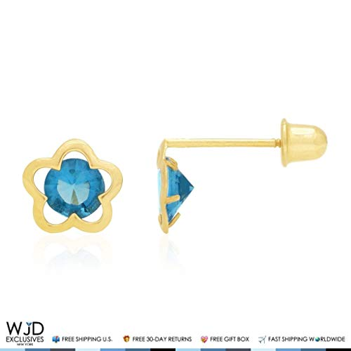 (14k Yellow Gold Solitaire CZ Birthstone Flower Screw Back Stud Earrings, Blue Topaz)