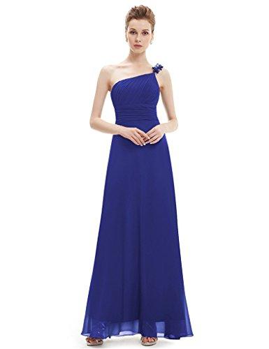 Blue Shoulder Evening Royal Long Dress Womens One Bridal Chiffon Aurora UvRWZwzqn