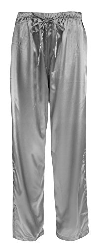 Leisureland Women's Elastic Solid Satin Sleepwear Pajama Bottoms (Medium, Pants Gray)