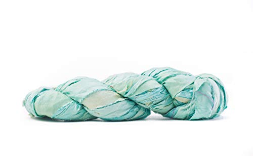 Seafoam Premium Super Bulky Sari Silk Ribbon Yarn | Beautiful Handcrafted Sari Silk Ribbon for Knitting, Crocheting, or Weaving by Darn Good Yarn | 50 Yards, 100 Grams