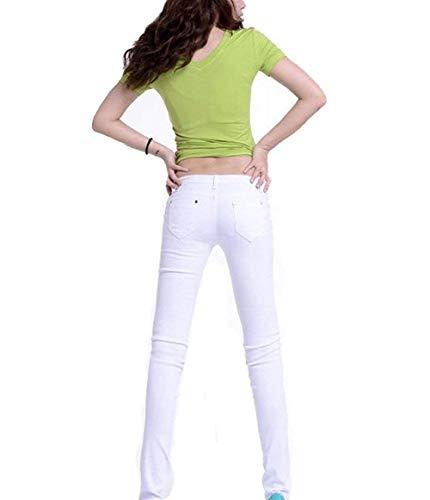 Cintura Flaco Lápiz Color Bolsillos Ropa Moda La Delanteros Blanco Mezclilla Vaqueros Pantalones Alta De Casuales Sólido wxqYIazO