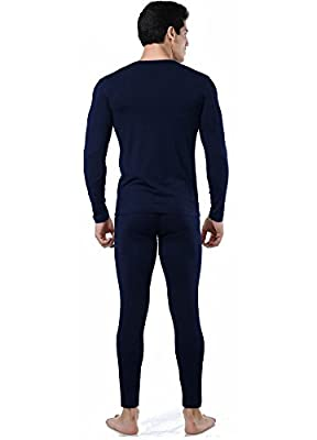 Men's Ultra-Soft Microfiber Tagless Fleece Lined Thermal Top & Bottom Performance Ski Underwear Set