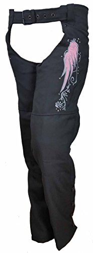 Ladies Textile Chaps With Reflective Wings & Embroidery (Stretch Chaps Womens)