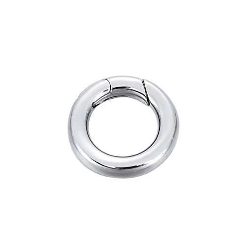 - Stainless Steel Round Pearl Necklace Enhancer Shortener Ring Spring Clasp Connector 18mm