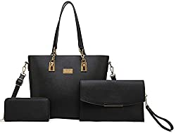 Women Tote Handbag Envelopes Wallet 3 Piece Set Bag Shoulder Bag For Work Black