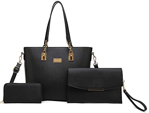 Women Tote Handbag + Envelopes + Wallet 3 Piece Set Bag Shoulder Bag for Work (Black)