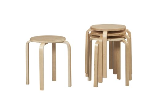 Tall Natural Wood (Linon Home Decor Stacking Stool, Natural)