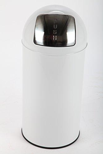 point-home Push Bin Mülleimer Abfalleimer Push Bin 36 L Stahl weiss lackiert