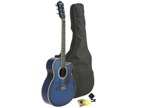 Fever Full Size Jumbo Body Steel String Acoustic Guitar Blue with Bag, Tuner and Strings, 5015C-BL