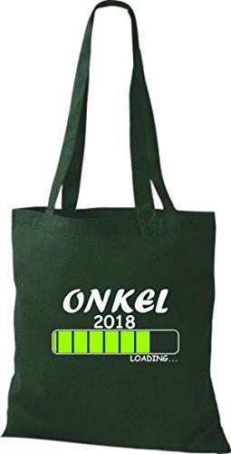ShirtInStyle Bolsa de tela Bolsa de algodón ONKEL 2018 Cargando Geburt Regalo - fucsia, 38 cm x 42 cm Verde