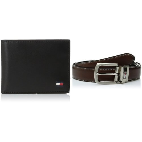 Tommy Hilfiger Men's Dore Wallet and Reversible Belt Set - Black 44