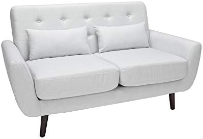 OFM 161 Collection Mid Century Modern Tufted Fabric Loveseat Sofa with Lumbar Support Pillows, Walnut Legs, in Light Gray 161-FLS2-LGRY