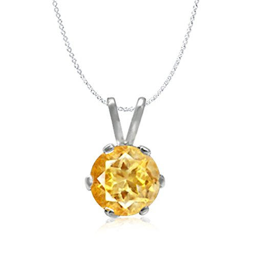 Natural Citrine 925 Sterling Silver Solitaire Pendant w/ 18 Inch Chain Necklace