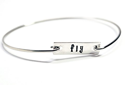 Fly • WristWords Bangle Bracelet • Hand Stamped Sterling Silver Tag on Stainless Steel Stacking Bracelet - Customizable