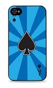 Ace of Spades Poker Abstract Blue Apple iPhone 4 / 4S Silicone Case Black Hard hjbrhga1544
