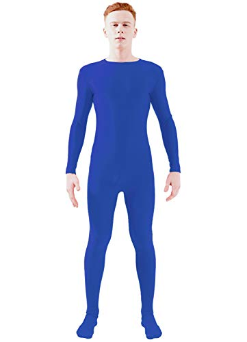 Ensnovo Adult Lycra Spandex One Piece Unitard Full Bodysuit Costume Royal Blue, L