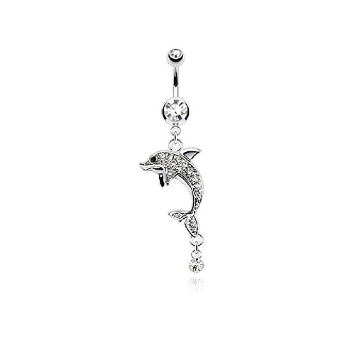 Pierced Owl CZ Crystal Paved Dolphin Dangling Drop Belly Button Ring (Clear)